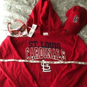 New 3PC St Louis Cardinals Hoodie/Cap/Sunglasses